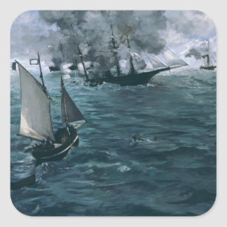 Battle of USS Kearsarge and CSS Alabama by Manet Square Sticker