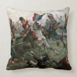 Battle of Waterloo, 18th June 1815, 1898 (colour l Throw Pillow
