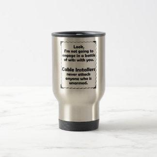 Battle of Wits Cable Installer Travel Mug