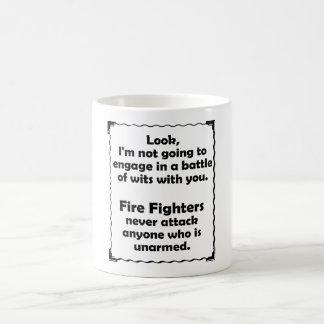 Battle of Wits Fire Fighter Classic White Coffee Mug