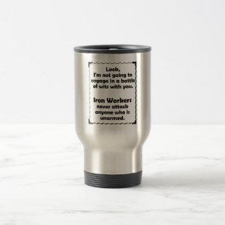 Battle of Wits Iron Worker Travel Mug