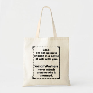 Battle of Wits Social Worker Tote Bag