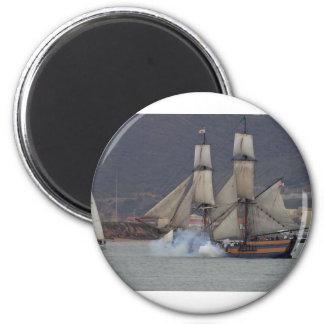 battle-reenactment-at-the-san-deigo-maritime-museu 2 inch round magnet