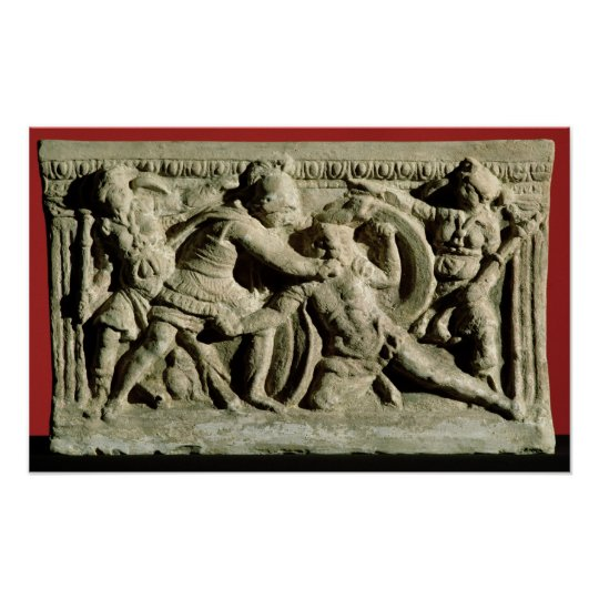 Battle scene from a cinerary urn, Etruscan Poster