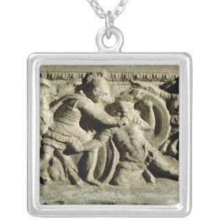 Battle scene from a cinerary urn, Etruscan Silver Plated Necklace