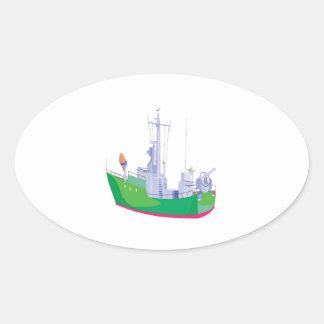 Battle Ship Oval Sticker