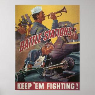 Battle Stations ~ Keep 'Em Fighting Poster