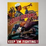 Battle Stations!  Keep 'Em Fighting! Vintage WW2 Print