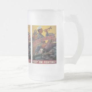 Battle Stations World War 2 Frosted Glass Beer Mug
