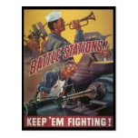 Battle Stations World War 2 Postcard