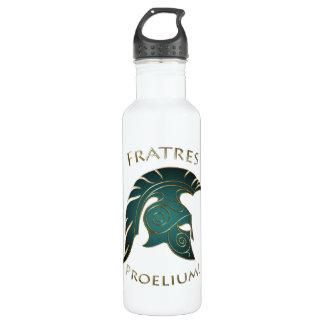Battle Teal Spartan Warrior White 24oz Water Bottle