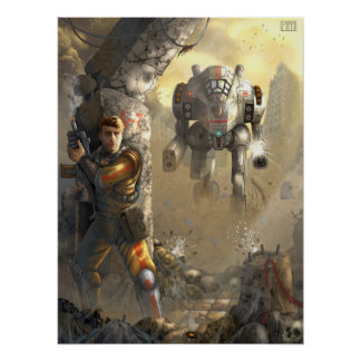 battle with the robot poster