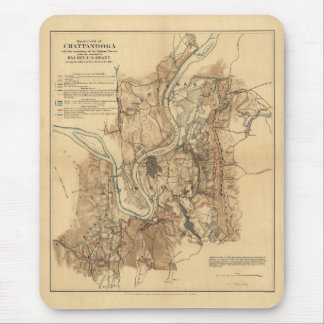 Battlefield of Chattanooga Map November 23-25 1863 Mouse Pad