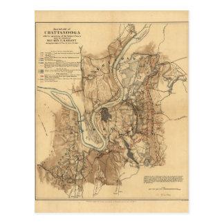 Battlefield of Chattanooga Map November 23-25 1863 Postcard
