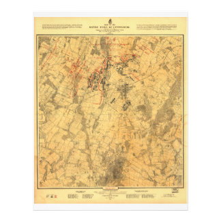 Battlefield of Gettysburg Map by John Bachelder Letterhead