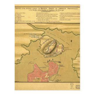 Battleground of Battle of Bunker Hill Map 1775 Postcard