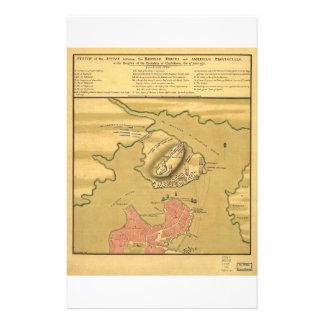 Battleground of Battle of Bunker Hill Map 1775 Stationery