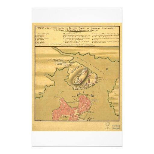 Battleground of Battle of Bunker Hill Map 1775 Stationery Paper