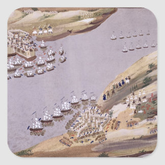 Battles for the Islands of Crete and Samos, plate Square Sticker