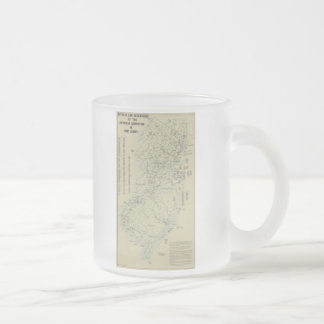 Battles of the Revolutionary War in New Jersey Map Frosted Glass Coffee Mug