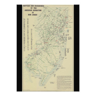 Battles of the Revolutionary War in New Jersey Map Personalized Announcement