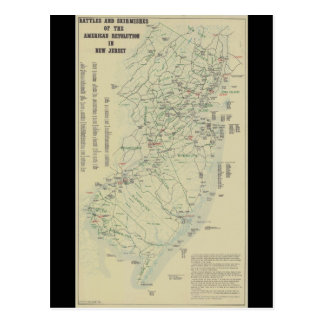 Battles of the Revolutionary War in New Jersey Map Postcard