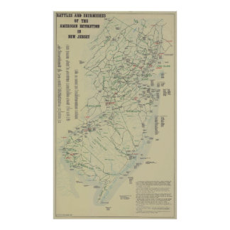 Battles of the Revolutionary War in New Jersey Map Poster