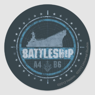 Battleship A4 B6 Classic Round Sticker