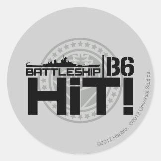 Battleship B6 Hit 2 Classic Round Sticker