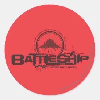 Battleship Naval 10 Classic Round Sticker