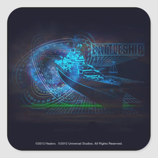 Battleship Naval 1 Square Sticker