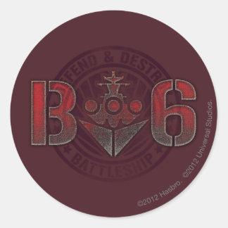Battleship Naval 8 Classic Round Sticker