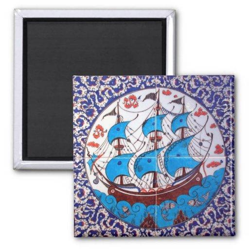Battleship Pattern / Tile Art 2 Inch Square Magnet