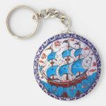 Battleship Pattern / Tile Art Basic Round Button Keychain