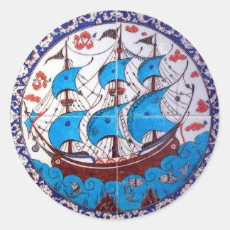 Battleship Pattern / Tile Art Classic Round Sticker