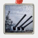 Battleship USS Alabama Square Metal Christmas Ornament