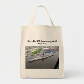 Battleship USS New Jersey BB-62 Aerial View Tote Bag