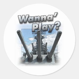 Battleship - Wanna Play? Classic Round Sticker