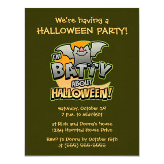 Batty About Halloween Party Invitations orange