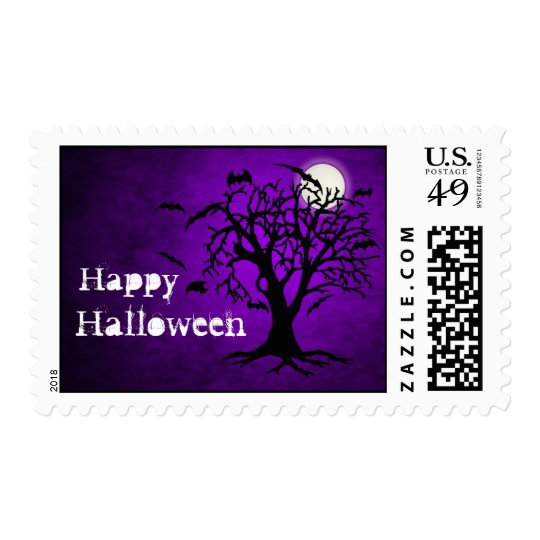 Batty Chilling Purple Moon Halloween Postage