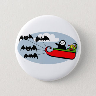 Batty Christmas Sleigh Pinback Button