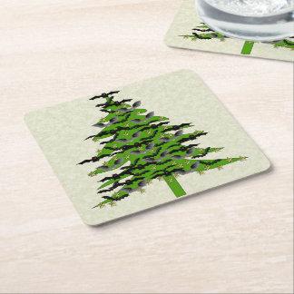 Batty Christmas Tree Square Paper Coaster