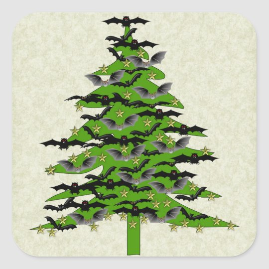 Batty Christmas Tree Square Sticker