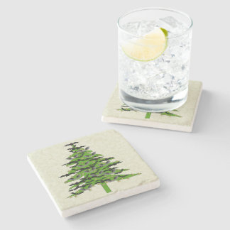 Batty Christmas Tree Stone Beverage Coaster