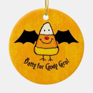 Batty For Candy Corn Ceramic Ornament