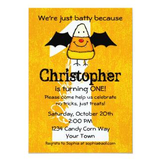 Batty For Candy Corn Halloween Birthday Card