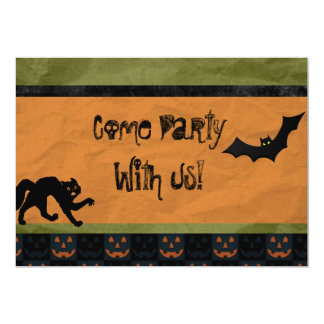 Batty Halloween Party Custom Personalized Card