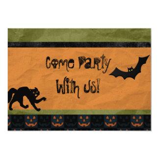 Batty Halloween Party Custom Personalized Card