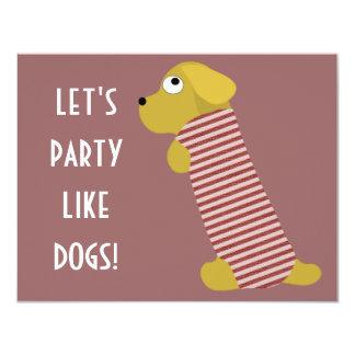 bau dog dressed 4.25x5.5 paper invitation card