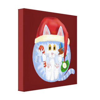 Bauble Cat Christmas Gallery Wrapped Canvas